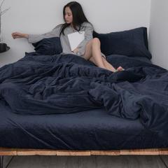 新款-天鹅绒四件套 1.8m(6英尺)床 藏青