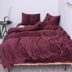 新款-天鹅绒四件套 1.5m(5英尺)床 酒红