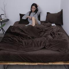 新款-天鹅绒四件套 1.2m(4英尺)床 深咖