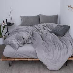 新款-天鹅绒四件套 1.5m(5英尺)床 银灰