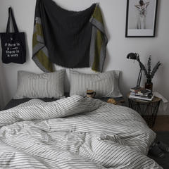 2018新款-针织棉色纺四件套-混白黑条纹 床笠款2.0m(6.6英尺)床 混白黑条纹