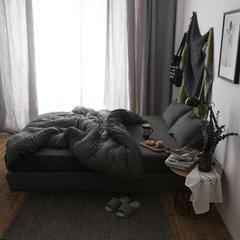2018新款-针织棉色纺四件套-碳黑白条纹 床笠款1.2m(4英尺)床 碳黑白条纹