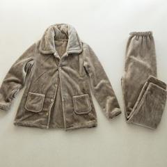 冬季保暖厚毛布家居服女士 M 卡其色