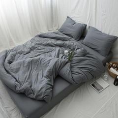 新款针织全棉纯色四件套 床笠款1.2m(4英尺)床 深灰