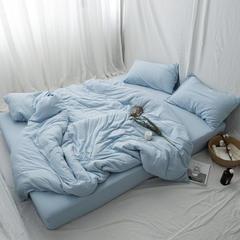 新款针织全棉纯色四件套 床笠款1.2m(4英尺)床 浅蓝