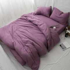 新款针织全棉纯色四件套 床单款1.8m(6英尺)床 深紫
