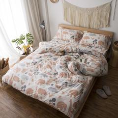 2017春款针织全棉印花四件套一件代发 1.8m(6英尺)床 动物园-橙