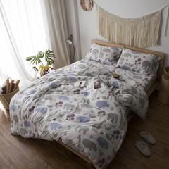2017春款针织全棉印花四件套一件代发 2.0m(6.6英尺)床 蝴蝶-灰