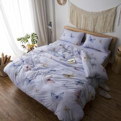 2017春款针织全棉印花四件套一件代发 2.0m(6.6英尺)床 蝴蝶-蓝