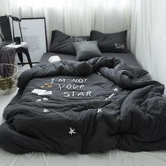 2018新款-针织绣花星星和太阳四件套 床笠款1.8m(6英尺)床 星星和太阳