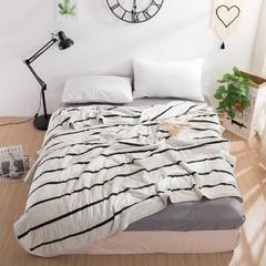 2019新款-全棉针织条纹夏被 1.0*1.4 m 白宽条