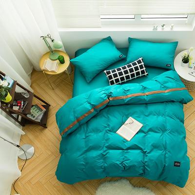 全棉斜纹活性印染四件套 简约贴标款 小号(1.35m床及以下) 碧玉