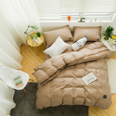 全棉斜纹活性印染四件套 简约贴标款 小号(1.35m床及以下) 黄昏