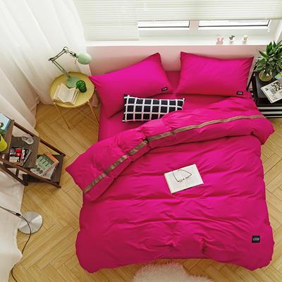 全棉斜纹活性印染四件套 简约贴标款 小号(1.35m床及以下) 玫瑰