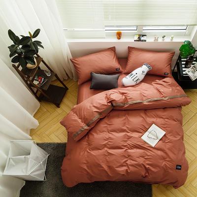 全棉斜纹活性印染四件套 简约贴标款 小号(1.35m床及以下) 晚枫