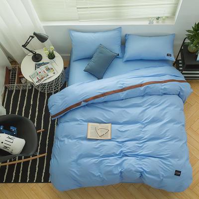 全棉斜纹活性印染四件套 简约贴标款 小号(1.35m床及以下) 远方