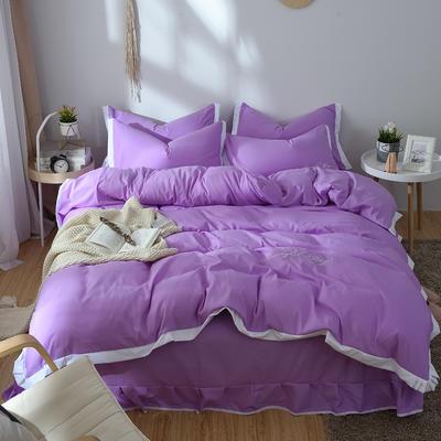 2019新款素色简欧款 纯梦系列四件套 1.8m床笠款四件套 纯梦-紫