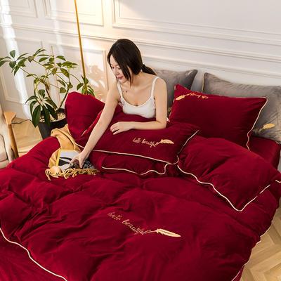 2019新款哈喽羽毛水晶绒四件套 1.8m(床单款四件套) 红色