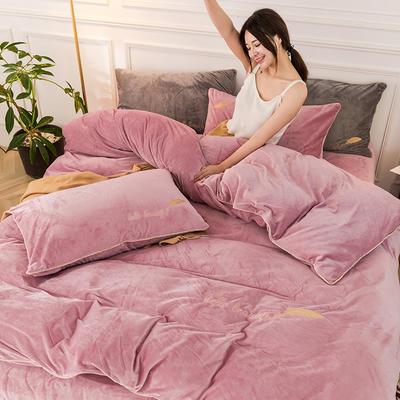 2019新款哈喽羽毛水晶绒四件套 1.8m(床单款四件套) 胭脂色