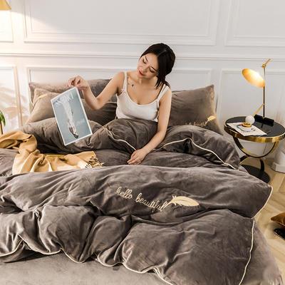 2019新款哈喽羽毛水晶绒四件套 1.8m(床单款四件套) 咖色