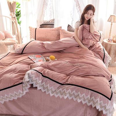 2019新款蕾丝宝宝绒四件套 1.8m床单款 简爱-香槟