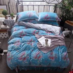 金貂绒3D雕花四件套 1.5m(5英尺)床 富贵花开-湖蓝