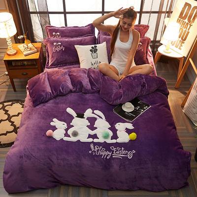 法兰绒贴布绣花+毛球款系列四件套 1.5m/1.8m床 相亲相爱一家人-紫