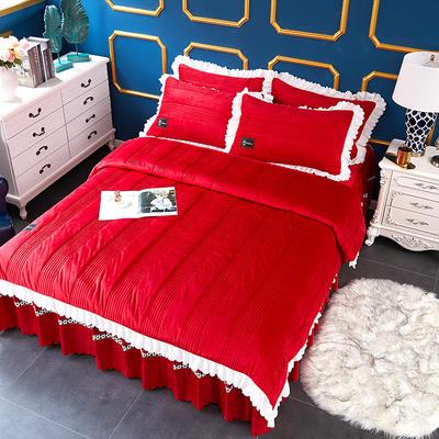 爱情海水晶绒夹棉蕾丝床裙系列四件套 1.5m(5英尺)床 爱琴海-大红