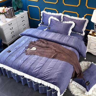 爱情海水晶绒夹棉蕾丝床裙系列四件套 1.5m(5英尺)床 爱琴海-蓝灰