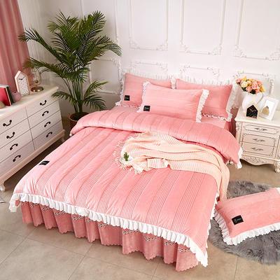 爱情海水晶绒夹棉蕾丝床裙系列四件套 1.5m(5英尺)床 爱琴海-玉色
