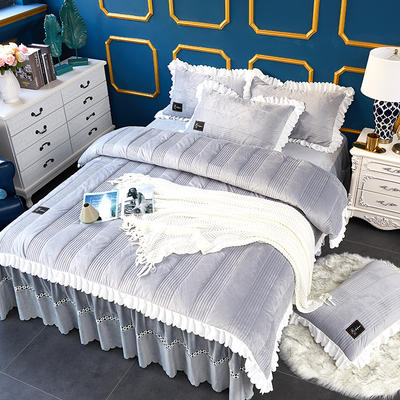 爱情海水晶绒夹棉蕾丝床裙系列--单被套 220x240cm 爱琴海-浅灰