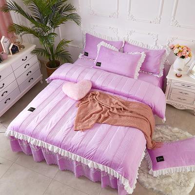 爱情海水晶绒夹棉蕾丝床裙系列--单被套 200X230cm 爱琴海-浅紫