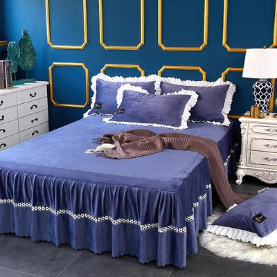 爱情海水晶绒夹棉蕾丝床裙系列--单床裙 150cmx200cm 爱琴海-蓝灰