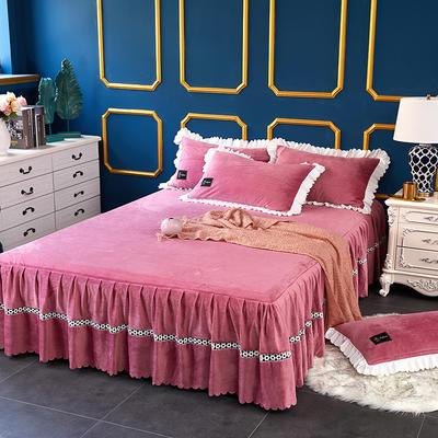 爱情海水晶绒夹棉蕾丝床裙系列--单床裙 180cmx200cm 爱琴海-豆沙红