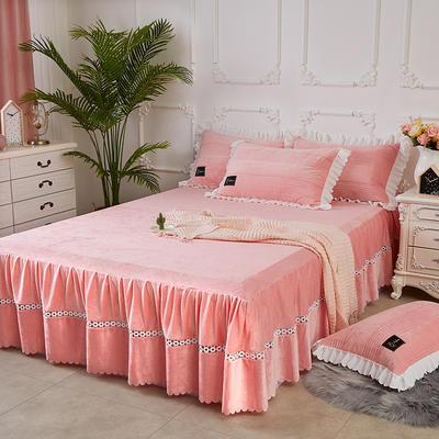 爱情海水晶绒夹棉蕾丝床裙系列--单床裙 150cmx200cm 爱琴海-玉色