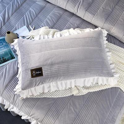 爱情海水晶绒夹棉蕾丝床裙系列---单枕套 48cmX74cm/一对 爱琴海-浅灰