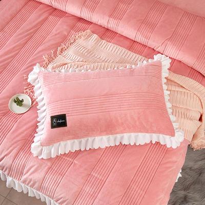 爱情海水晶绒夹棉蕾丝床裙系列---单枕套 48cmX74cm/一对 爱琴海-玉色