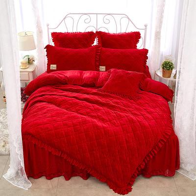 花枝俏彦水晶绒夹棉蕾丝床裙系列四件套 1.5m(5英尺)床 大红