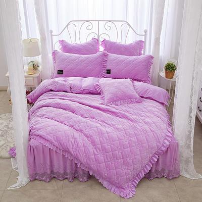 花枝俏彦水晶绒夹棉蕾丝床裙系列四件套 1.5m(5英尺)床 浅紫