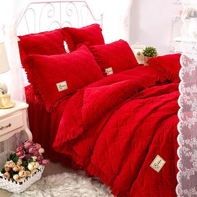 花枝俏彦水晶绒夹棉蕾丝床裙系列--单被套 200X230cm 大红