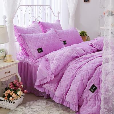 花枝俏彦水晶绒夹棉蕾丝床裙系列--单被套 200X230cm 浅紫