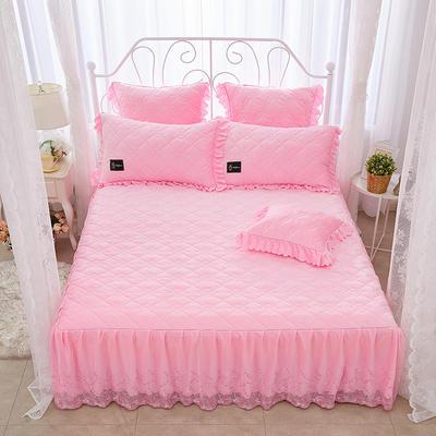 花枝俏彦水晶绒夹棉蕾丝床裙系列--单床裙 150cmx200cm 粉红