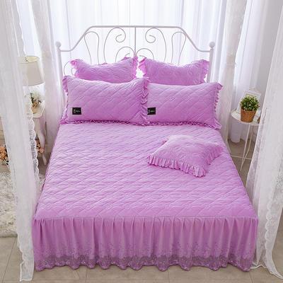 花枝俏彦水晶绒夹棉蕾丝床裙系列--单床裙 150cmx200cm 浅紫