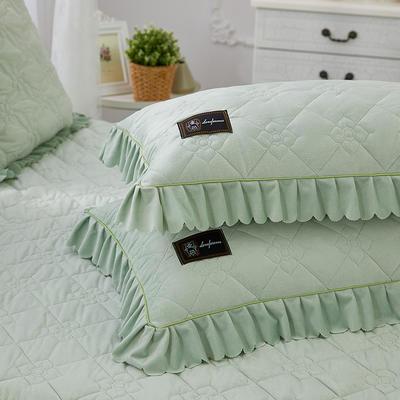 花枝俏彦水晶绒夹棉蕾丝床裙系列--单枕套 48cmX74cm/一对 抹茶绿