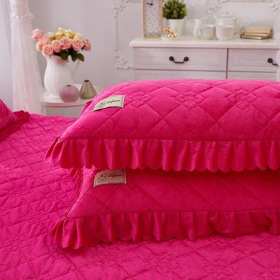 花枝俏彦水晶绒夹棉蕾丝床裙系列--单枕套 48cmX74cm/一对 玫红