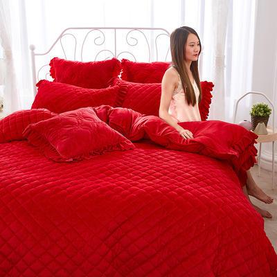 蜜恋水晶绒夹棉蕾丝床裙系列四件套 1.8m(6英尺)床 大红