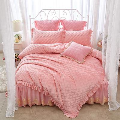 蜜恋水晶绒夹棉蕾丝床裙系列四件套 1.5m(5英尺)床 玉色