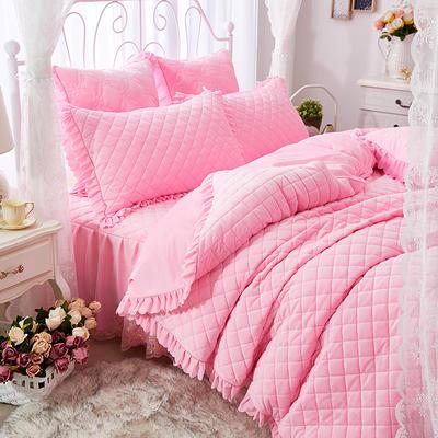 蜜恋水晶绒夹棉蕾丝床裙系列---单被套 220x240cm 粉色