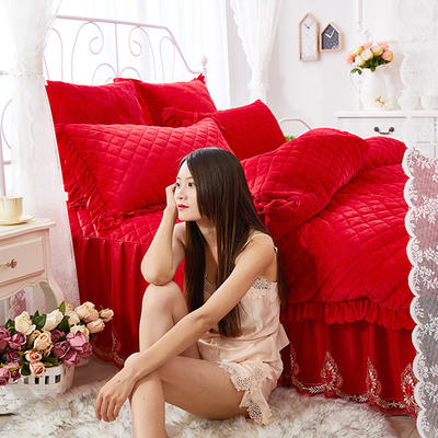 蜜恋水晶绒夹棉蕾丝床裙系列---单被套 200X230cm 大红