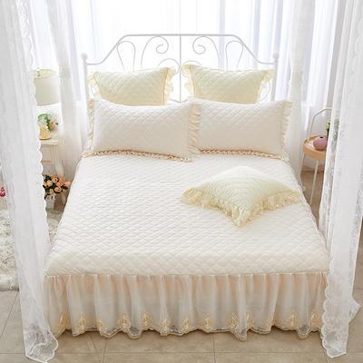 蜜恋水晶绒夹棉蕾丝床裙系列---单床裙 180cmx200cm 米色
